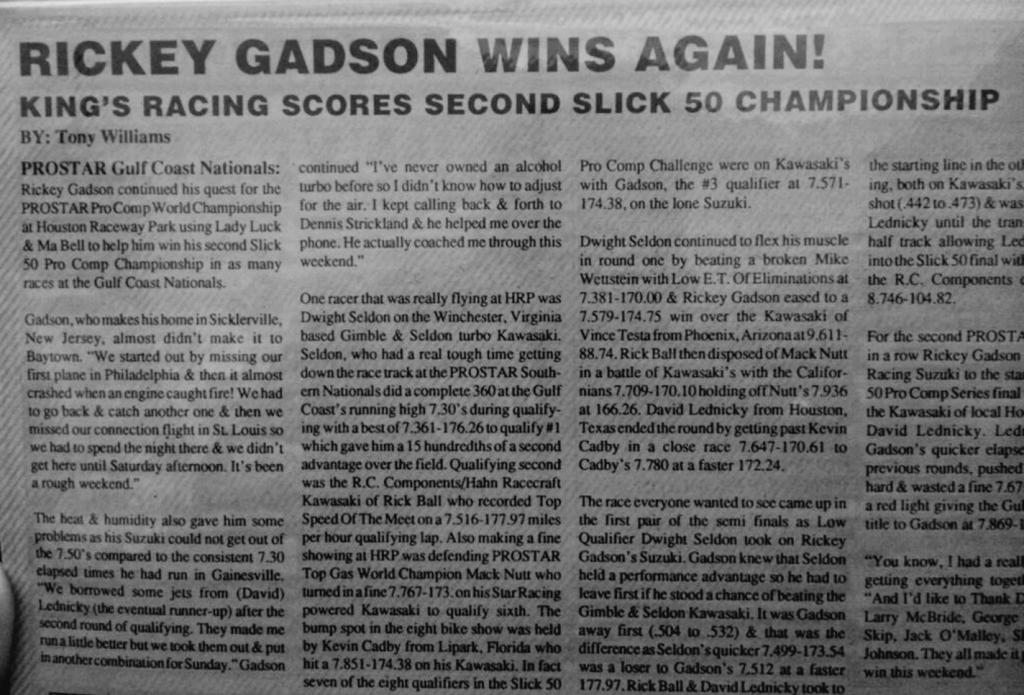 Rickey Gadson media coverage