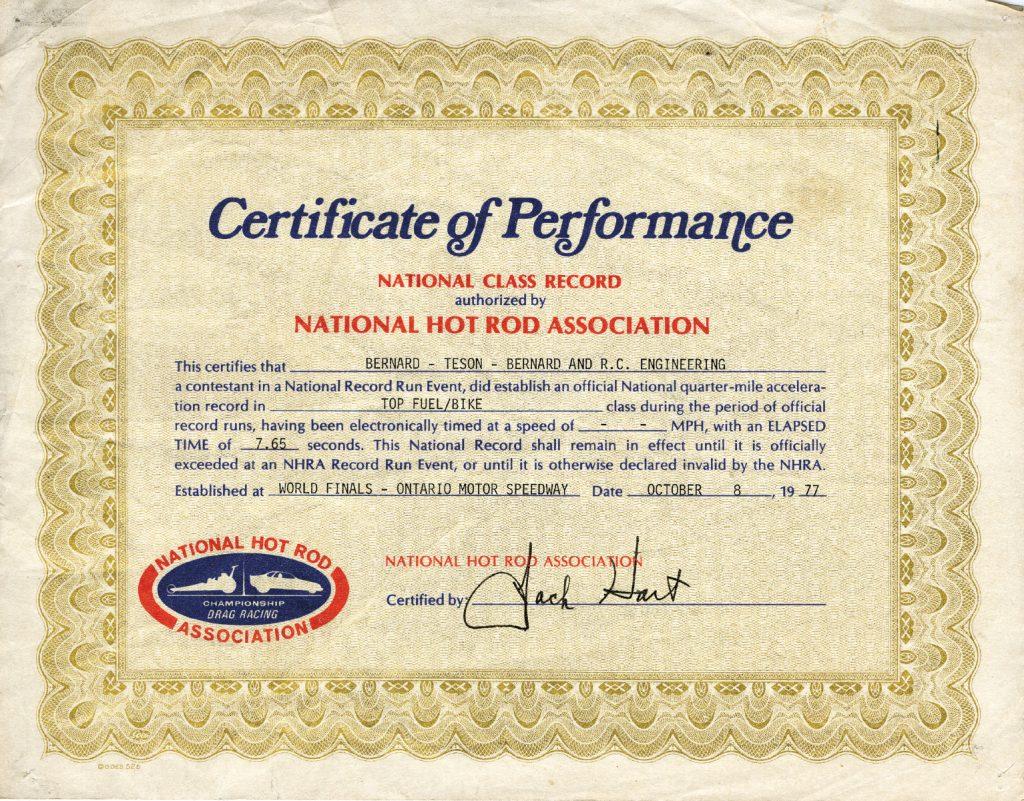 NHRA Dragbike Certificate of Performance, RC Engineering