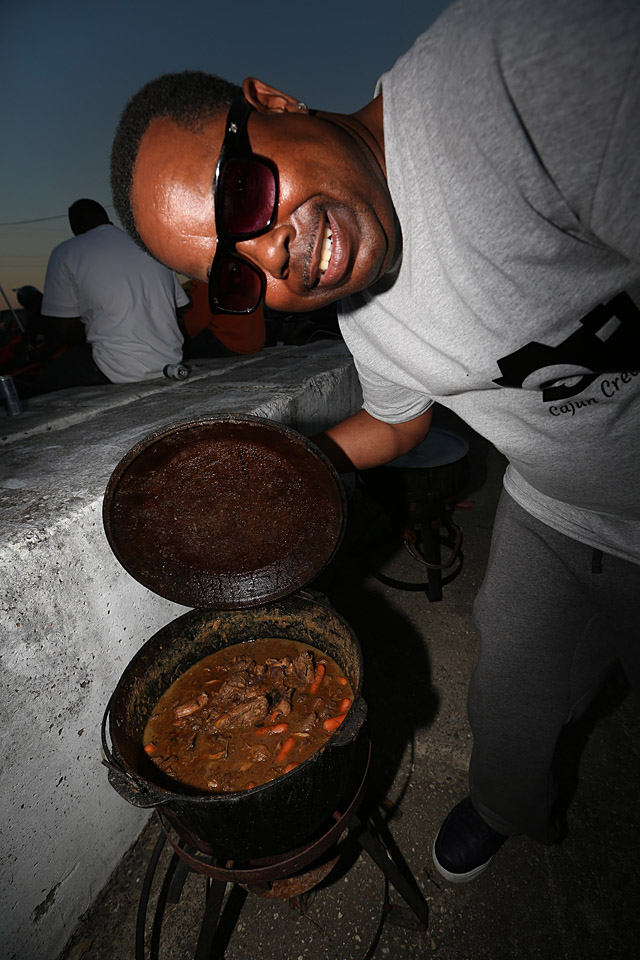 Troy Stemley with a wild hog and rabbit stew