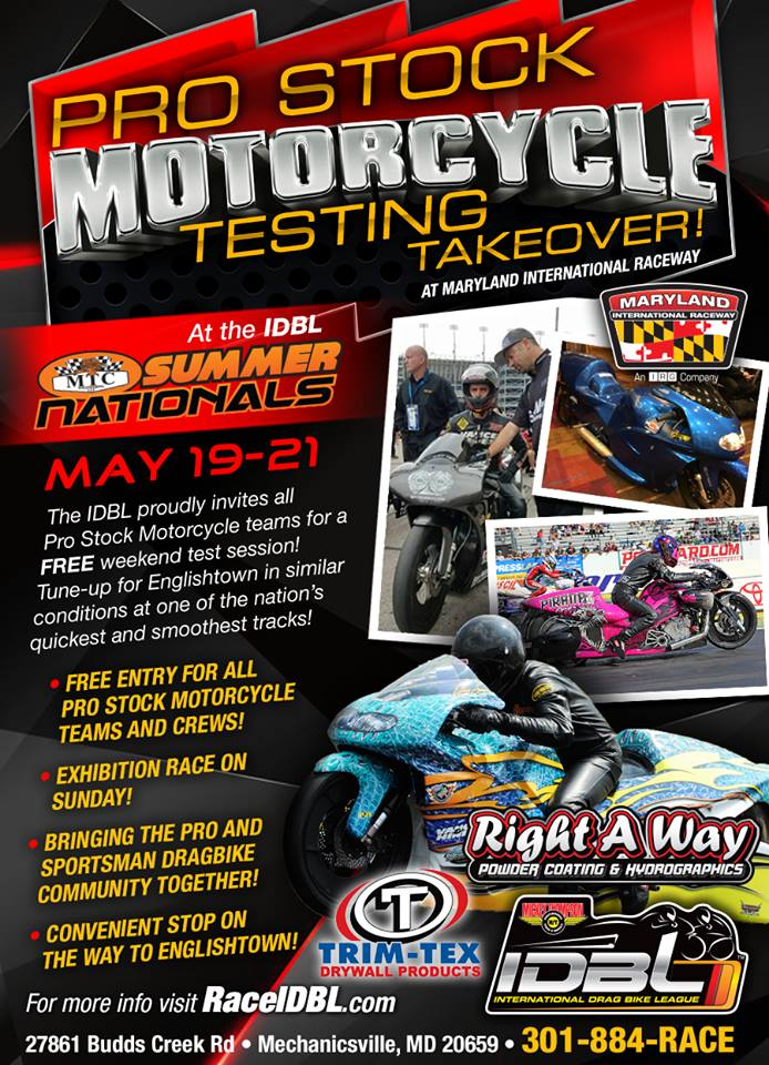 IDBL Pro Stock Motorcycle Testing Takeover