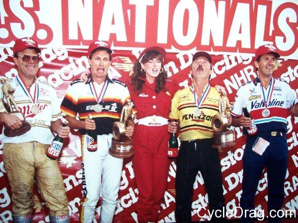 Dave Schultz, Joe Amato, NHRA winners circle
