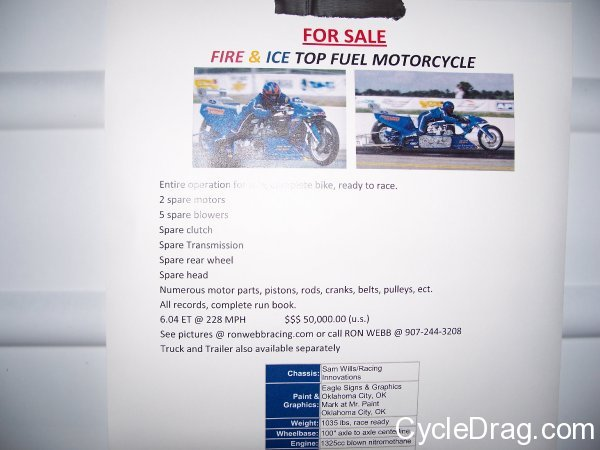 Ron Webb Top Fuel Motorcycle For Sale