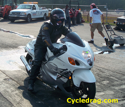 White Hayabusa Drag Racing