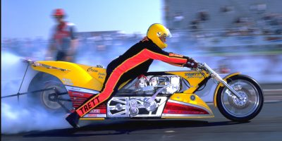 Elmer Trett Yellow Top Fuel Motorcycle