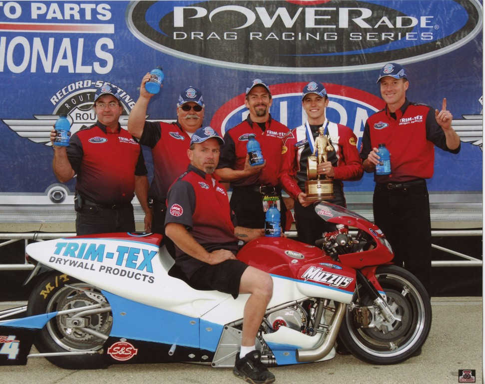 Dave Schnitz, Rob Muzzy, ryan Schnitz, Joe Koenig, Chicago Pro Stock Motorcycle Win, Trim-Tex