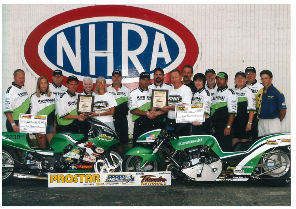 Kawasaki Drag Team photo with John Hoover