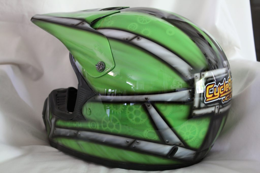 Cycledrag.com dirtbike Helmet after 2, rippin designs custom paint airbursh
