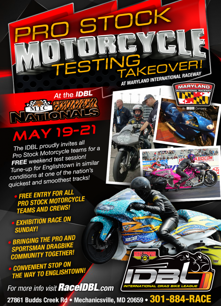 IDBL Pro Stock Motorcycle Testing Takeover 2017