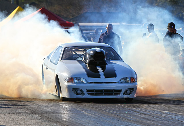 Cavalier laying down some big tire smoke