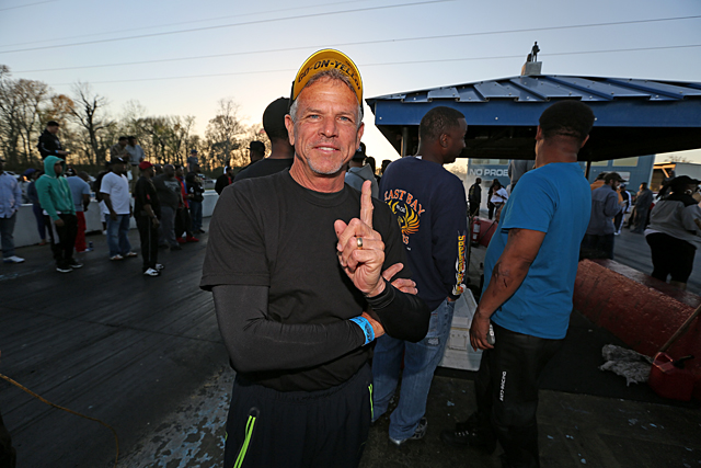 NHRA Pro Stock Motorcycle champ Jerry Savoie was riveted by the action on No Problem's starting line