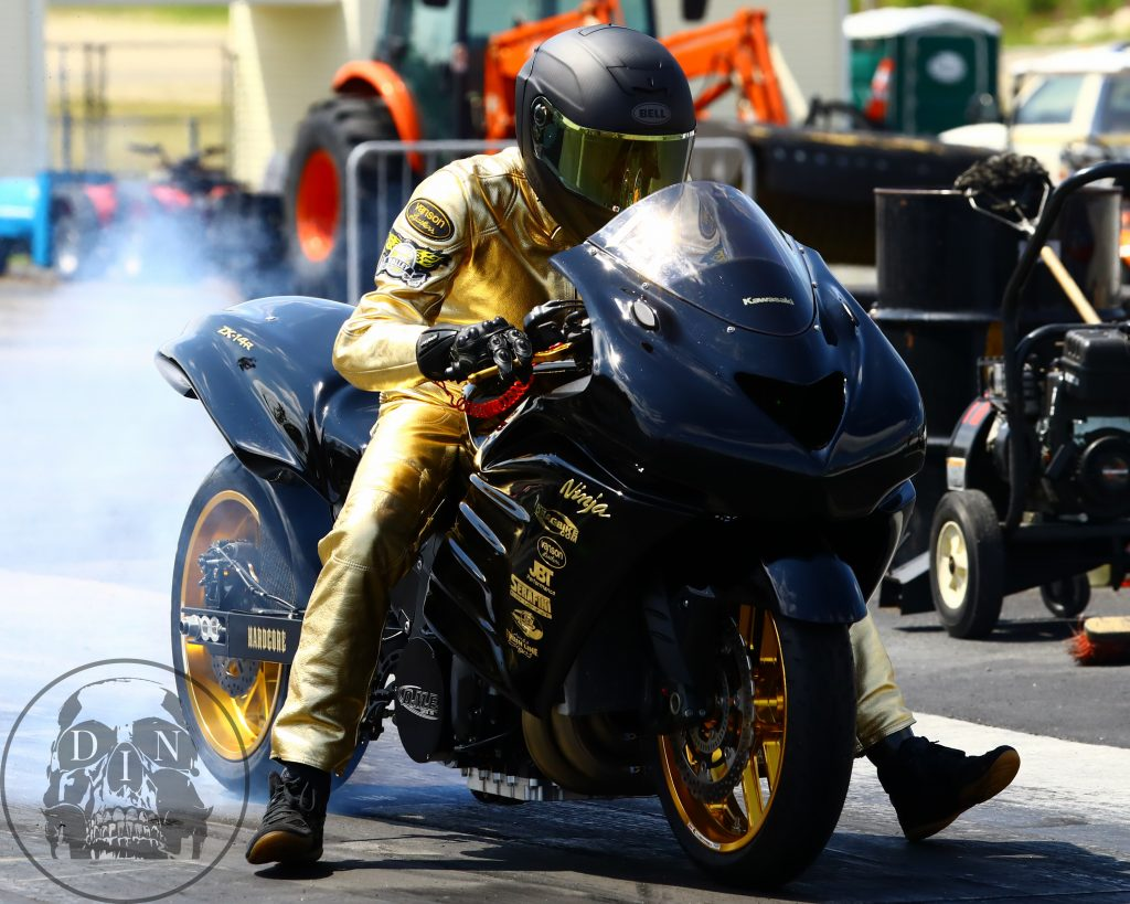 Joe Ferraro of RI, smoked the competition on his way to winning in the Motorcycle Masters race at New England Dragway. Tom McCarthy photo.