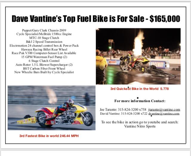 Dave Vantine Top Fuel Bike Sale