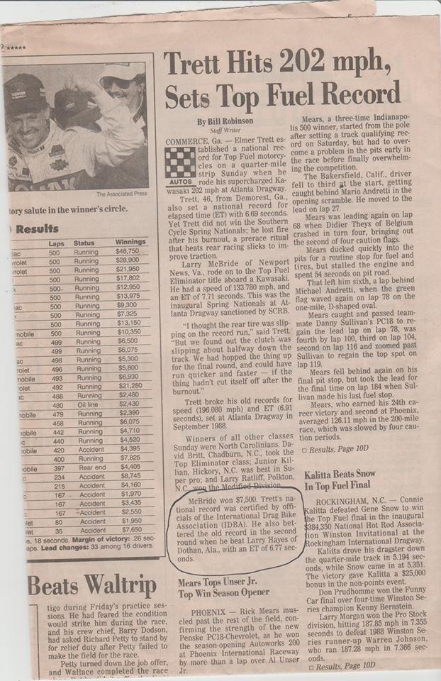 Atlanta 1987 Top Fuel Motorcycle race