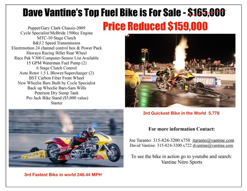 Price Reduced Top Fuel bike for sale Dave Vantine