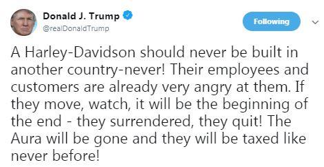 President Trump Harley Tweet