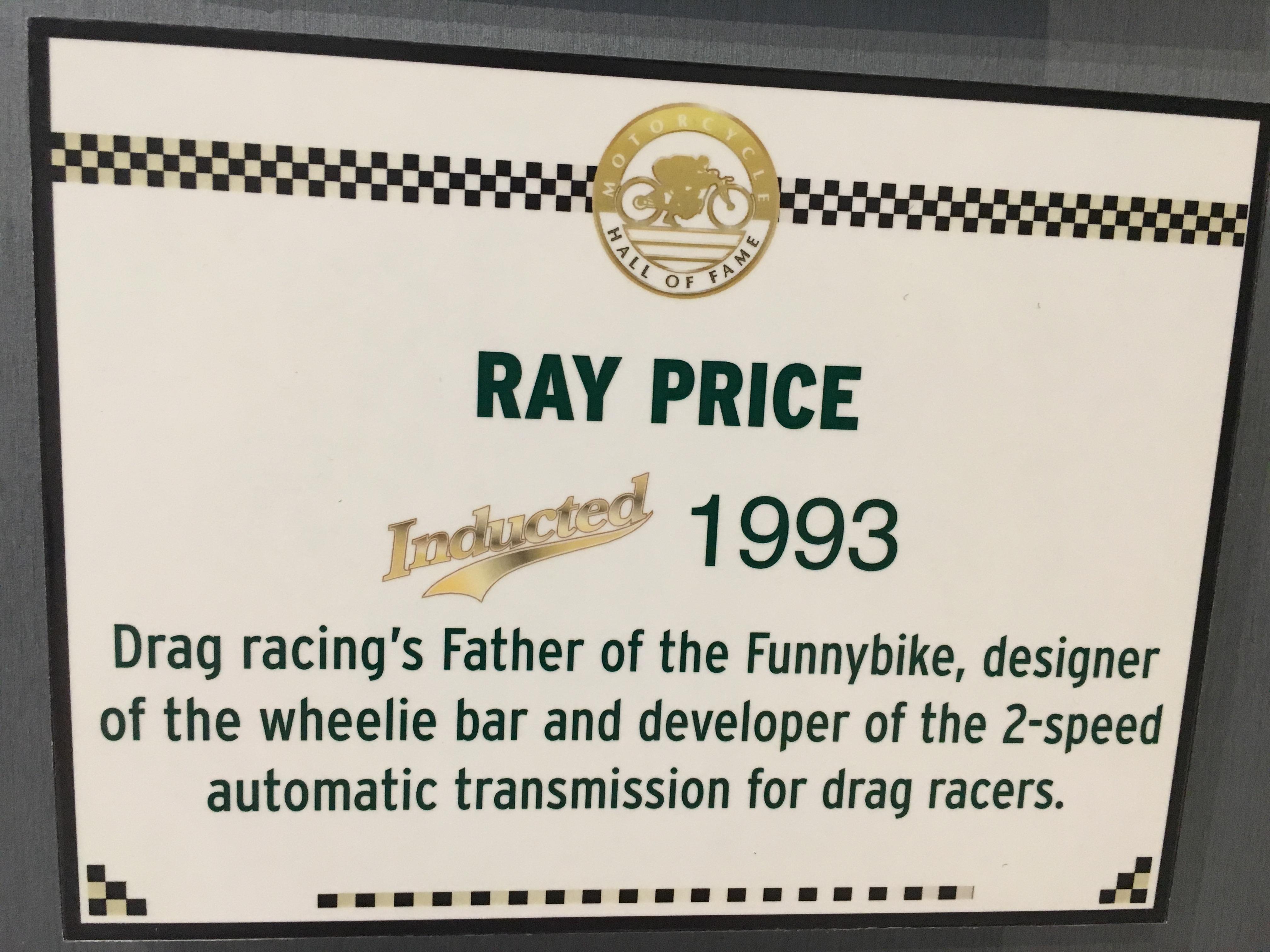 Ray Price, AMA Hall of Fame